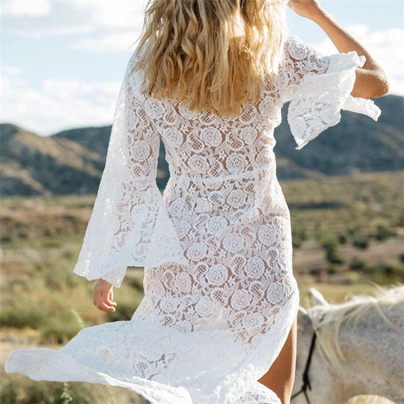 5add488ab0cd3 ... Lace Beach Cover up Sarong Beach Wrap Pareos Para Playa 2019 Swimwear Cover  up Women Robe ...