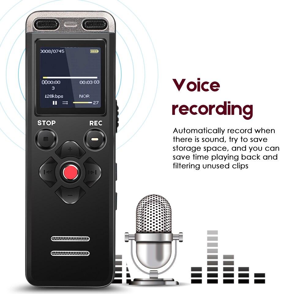 Enregistreur vocal numérique Portable professionnel MP3 stylo d'enregistrement 8 GB MINI téléphone Dictaphone WAV MP3 caché avec micro intégré - 2