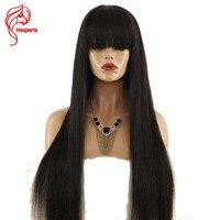 Hesperis Cheveux Brésiliens Sans Colle Pleines Perruques de Lacet Avec Une Frange Droite Soyeuse de Lacet de Cheveux Humains Perruques Bébé Cheveux Fringe Parting Gratuit