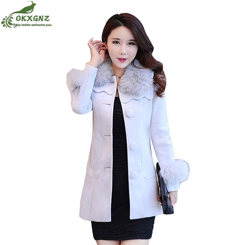 Mince Okxgnz gray Moyen Femmes Hiver Automne Laine Manteau Taille Chaud Épaississement Grand Nouveau Survêtement Pink De Veste Femme Long red n08wXOkPNZ
