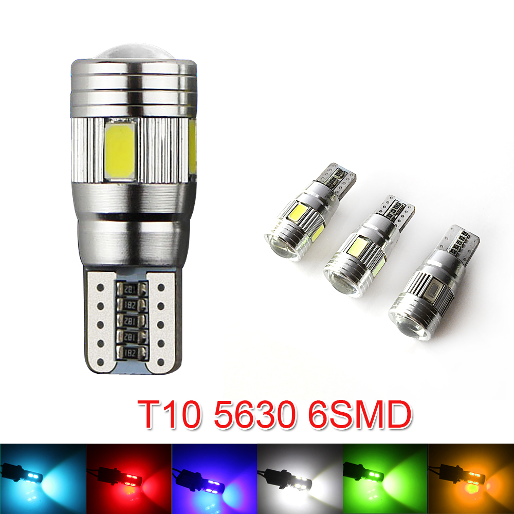 New Update 6 Colors T10 Led 1 Pcs Auto Car Light Bulb 5730 Smd 6 Led W5w 12v Interior Parking Projector Lens In Car Headlight Bulbs Led From