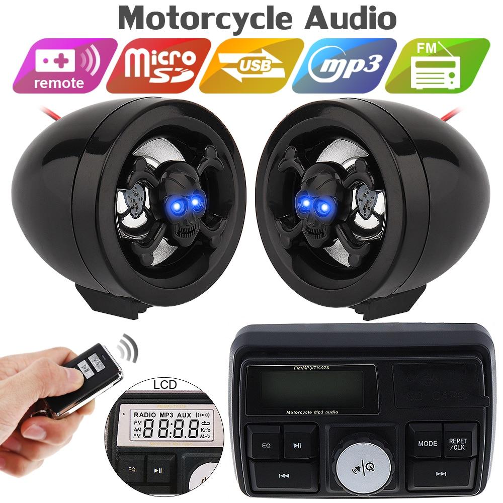 12V moto système Audio son haut-parleurs stéréo FM Radio MP3 lecteur de musique Scooter ATV télécommande alarme haut-parleur Scooter