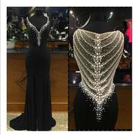 Black Sparkly Prom V Neck Sexy Back Hollow Beaded Pearls Long Evening Gowns Custom Luxury Formal Party mother of the bride Dress