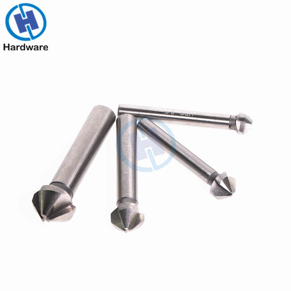 1 шт. 3 Флейта HSS развертка бит 90 градусов фаски Резак Инструмент для дерева сталь 6,3/8,3/10,4/12,4/16,5/20,5 мм