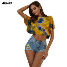 ZOGAA Tie Dyed Midriff-baring Women T-shirts Loose Fit Casual Tops Brand Cloth Summer New Shorts Sleeve Casual Female T-shirts sexy midriff baring tops