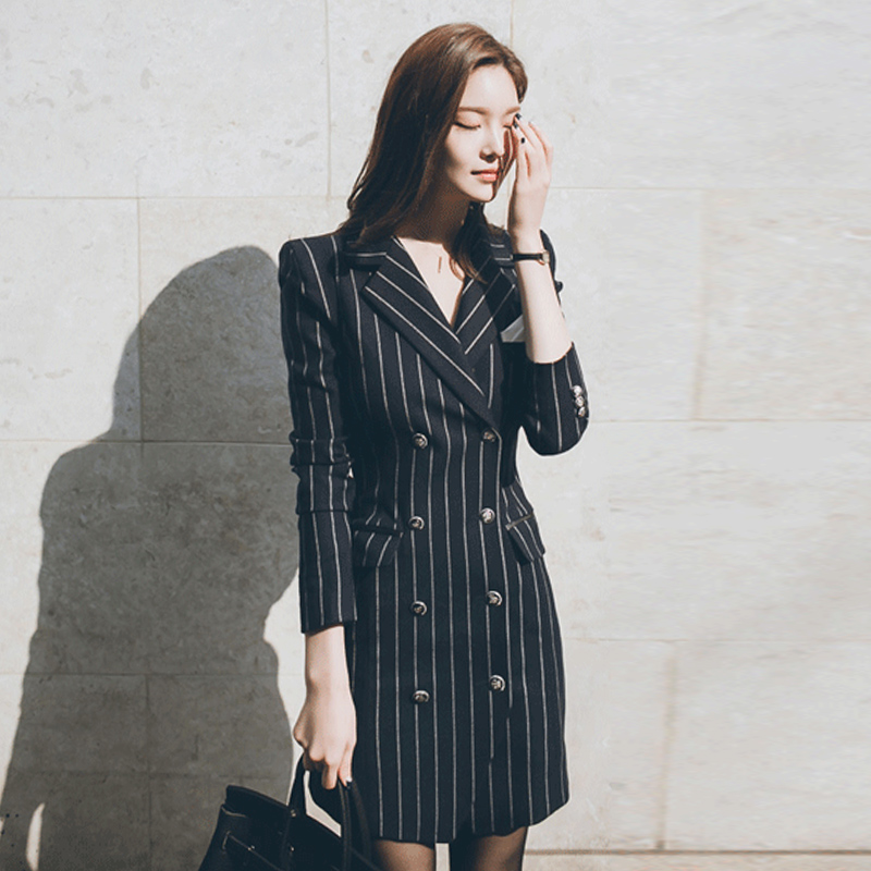 2019 autumn new fashion striped   trench   coats elegant ladies Double Breasted slim long tops gx1065 drop shipping