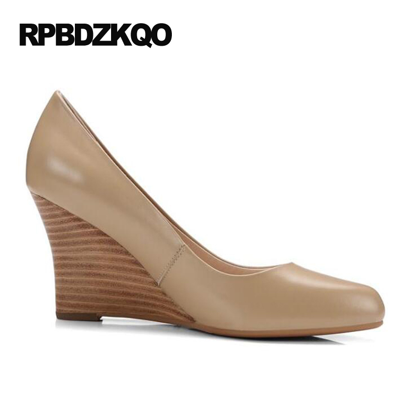 Größe 4 34 Damen Formale Schuhe High Heels Kleine Herbst Nude Pumps Keil Büro Spitz 2017 Echtem Leder Gericht echt - 5