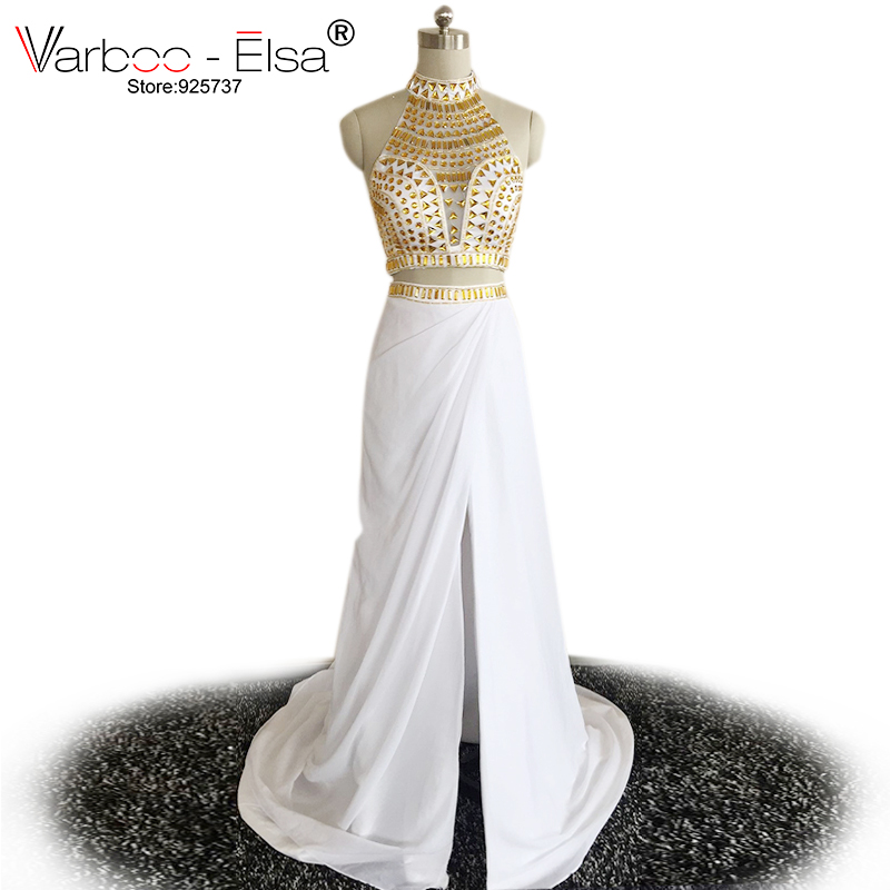 97bbb8c9d59a6 US $190.9 |New Sexy Backless Beaded High Neck 2 Piece Prom Dresses 2018  Long Party Dresses Formal Evening Gowns white and gold prom dresses-in Prom  ...
