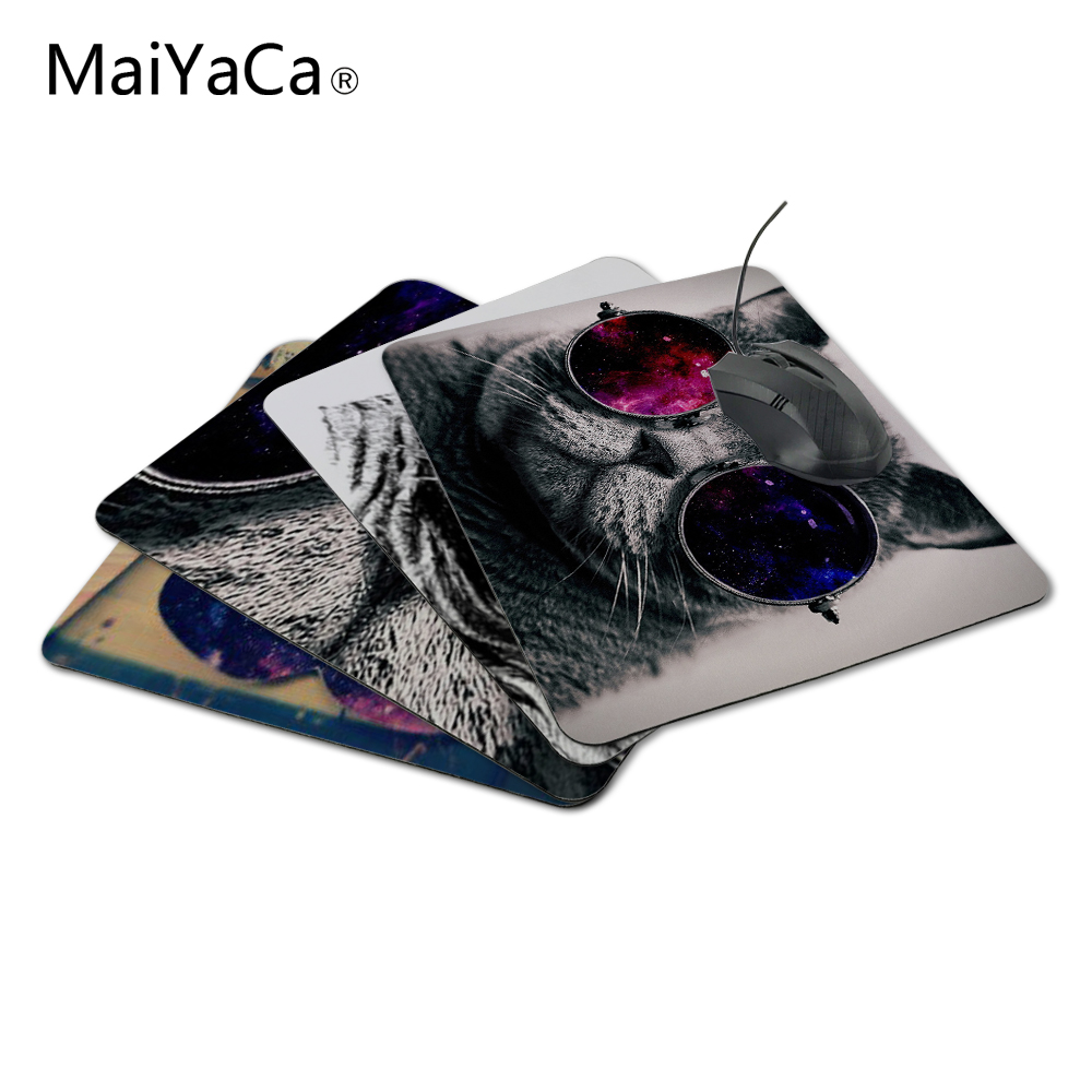 MaiYaCa New Square Cat With Galaxy Glasses Thicken for Optical Silicon Mouse Pads 220mmX180mmx2mm Mat Mice Pad Drop