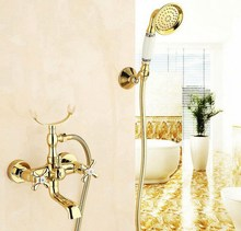 цена на Luxury Golden Brass Double Handles Clawfoot Bathroom Tub Faucet w/ Telephone Style Handshower - Wall Mount atf124
