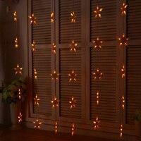 1.5M*1.5M Star LED Curtains String Light Holiday Fairy Christmas Curtain Lights Decoration Garlands Wedding Room Decor Lighting