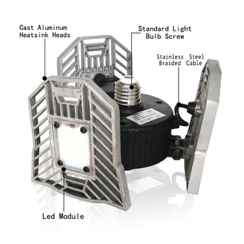 гаражные потолочные светильники | Светодиодный деформируемая игрушка гаражный свет 60 Вт E27 светодиодный лампы с радар движения Acativated потолочный светильник для гараж/Склад п...