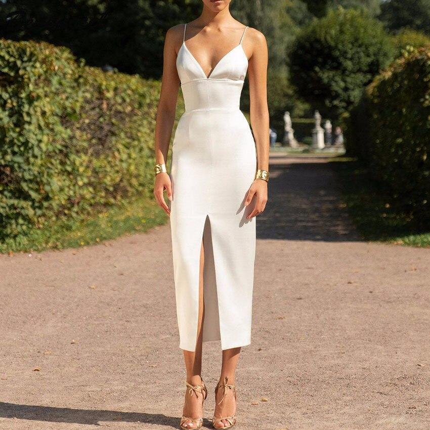 Gros femmes robe 2019 nouvelles bretelles blanches moulante robe élégante célébrité soirée robe Vestidos Bandage robe