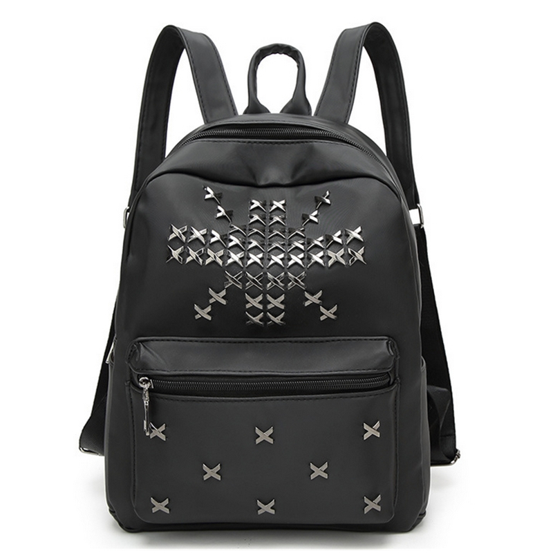 High Quality Oxford Women Backpack Fashion Rivet Teenager Girls Student School Bag Ladies Black Bag Famous