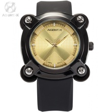 AGENTX Yellow Square Dial X Design Screw Analog Black Silicon Rubber Steel Buckle + Gift Box Mens Boy Quartz Sport Watch /AGX050