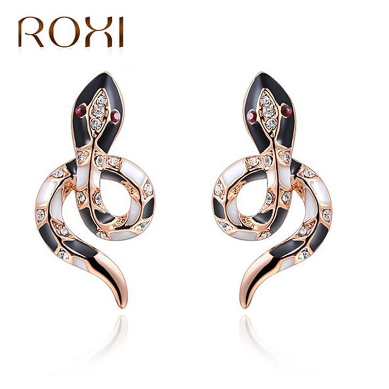 ROXI Women Earrings Cute Snake Rose Gold Wedding Stud Earrings for Women Summer Party Je ...