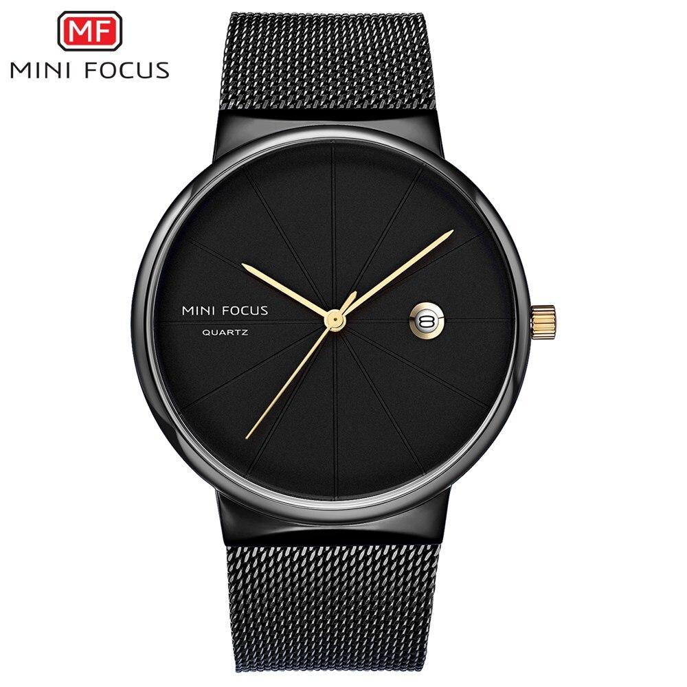 цена на Fashion Business Top Brand Men Watches Stainless Steel Strap Quartz Watch MINI FOCUS New 2018 Casual Clock Relogio Masculino