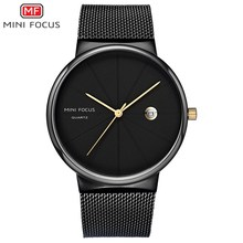 Fashion Business Top Brand Men Watches Stainless Steel Strap Quartz Watch MINI FOCUS New 2019 Casual Clock Relogio Masculino