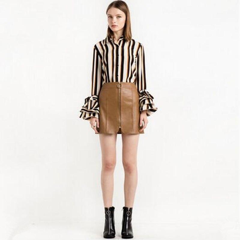 2017 elegante señora de la oficina blusas formales flare moda rayas de manga lar