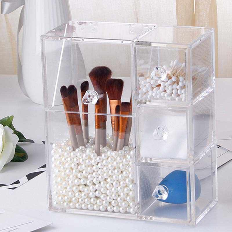 Multi-function Acrylic Makeup Organizer Makeup Brush Display Box Cosmetics Tools Storage Holder Jewelry Accessory Case Casket