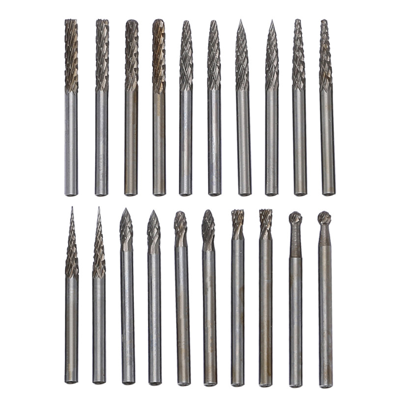 3 3mm Tungsten Steel Solid Carbide Rotary Burrs Cutter Grinding Set Cnc Engraving Bit Dremel Abrasive Tools 20pcs In From On