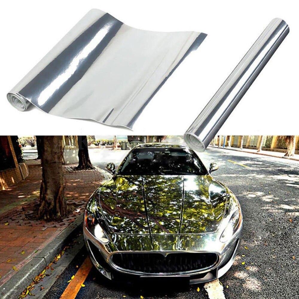 Voiture argent Chrome bricolage couleur vive véhicule film vinyle wrap voiture carrosserie autocollant vinyle films voiture style accessoires personnalité