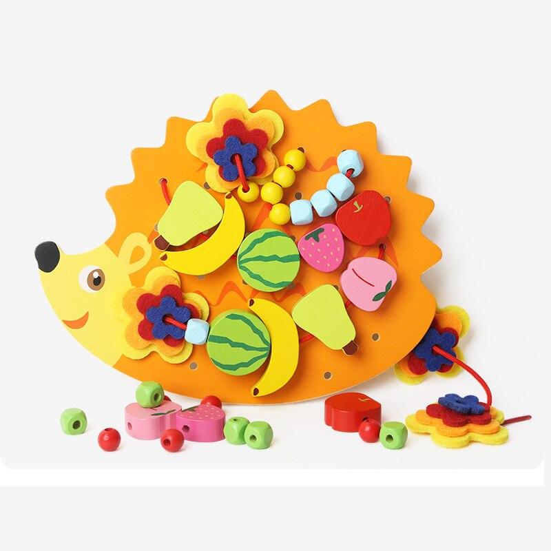Montessori bois hérisson filetage laçage perles de fruits jouets pour enfants Brinquedos Oyuncak Juguetes Brinquedo Oyuncaklar