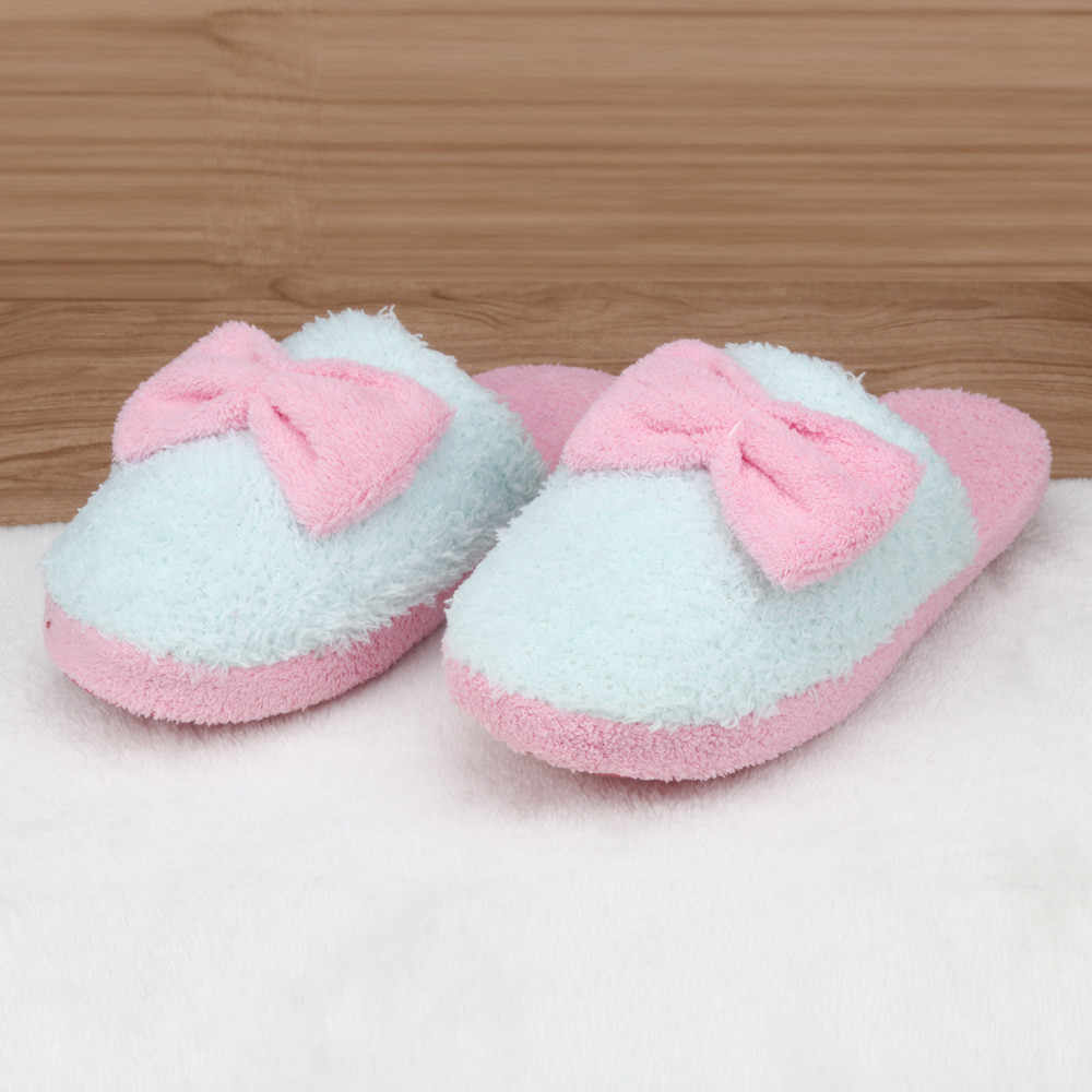 11a68603f1cad SAGACE Women Winter Warm Soft Indoor Bowknot Cotton Slippers Home Anti-slip  Shoes Plush Slippers
