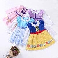 Kinder langhülse Kleid Prinzessin Schneewittchen Belle Sofia Meerjungfrau Kostüm Mädchen Geburtstagsparty Kleid Kinder Halloween Cosplay Kleid