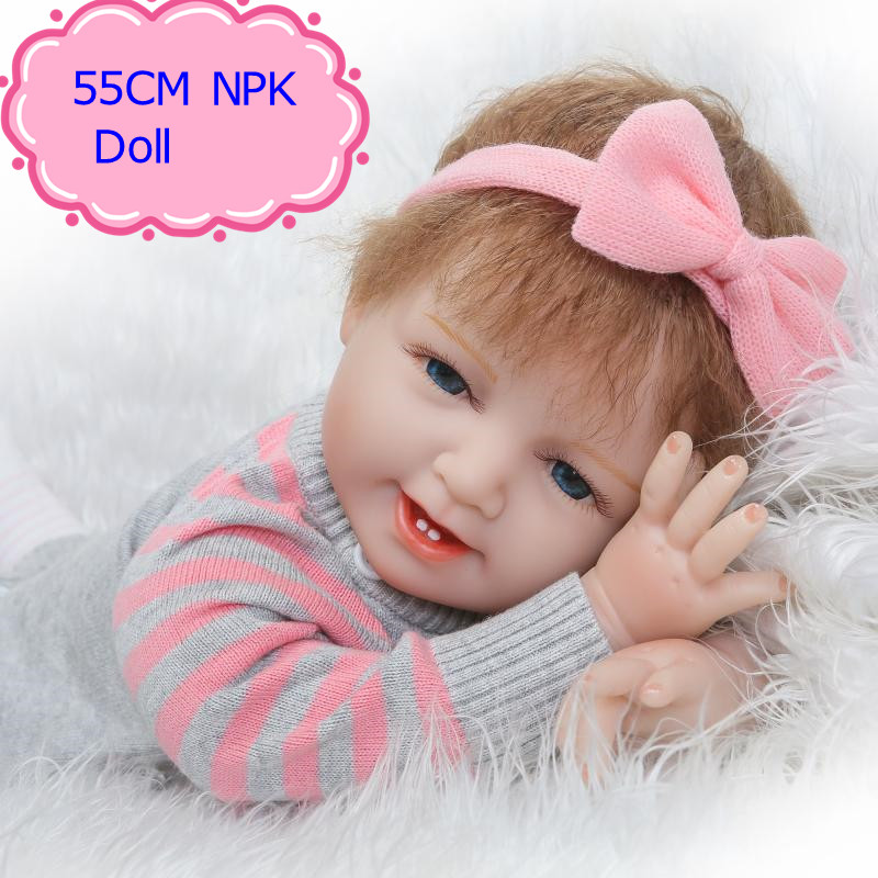 NPK 22Inch Silicone Vinyl Reborn Baby Doll Lifelike Newborn Baby Doll As Girl Brinquedos Hot Welcome Bedtime Playmate Kids Toys hot sale 2016 npk 22 inch reborn baby doll lovely soft silicone newborn girl dolls as birthday christmas gifts free pacifier