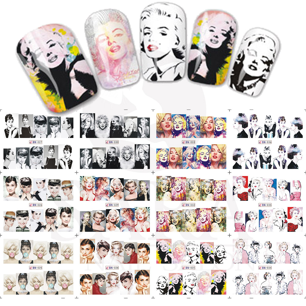 1 2Designs/set Marilyn Monroe & Audrey Hepburn With Full Cover Nail Sticker For Nail Art Water Decals Decorations SABN025-036 дизайн ногтей essence трафарет для штампа nail art stampy designs 01