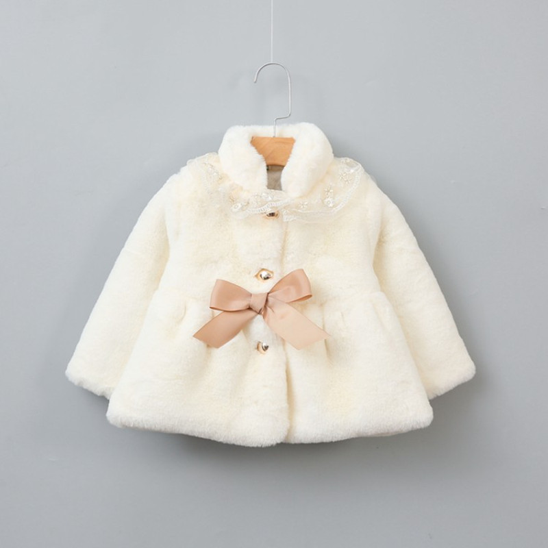 12M-7 Years Girls Faux Fur Coat Fleece Parka Girl Winter Coat Jacket 2018 New Casual Solid Children Butterfly Warm Jacket цена