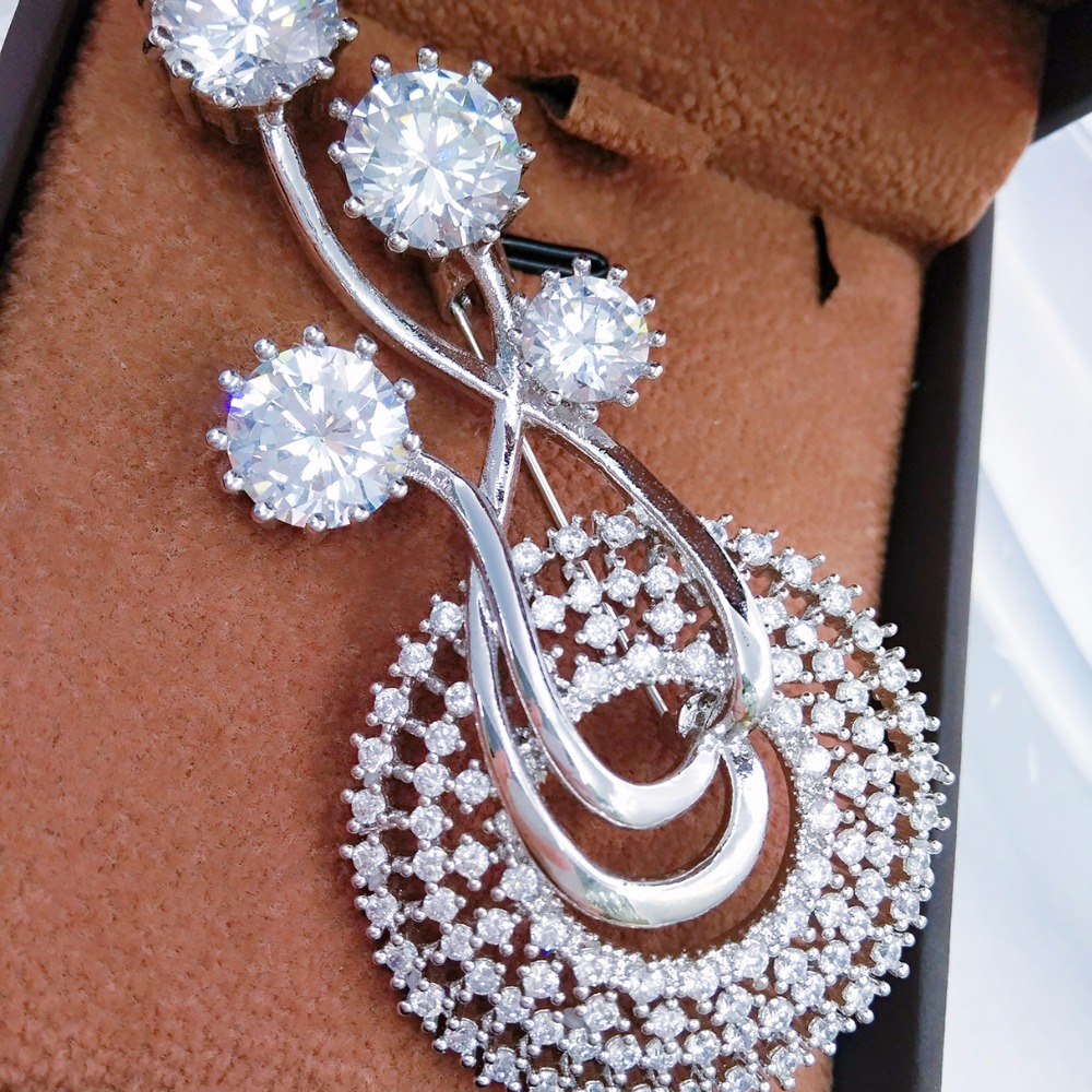 Aliexpress Buy Fashion Jewelry Silver Color Brooch Flower