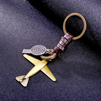 Fashion aircraft shaped trinket men keychain key chains locksmith Hand weaving cowhide bronze rucksack buckle car ring gifts image