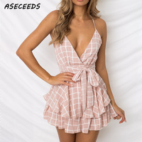 V Neck Sexy Romper Plaid Boho Pink Playsuit Shorts One Piece Jumpsuit Romper Red Bodysuit for Women Streetwear