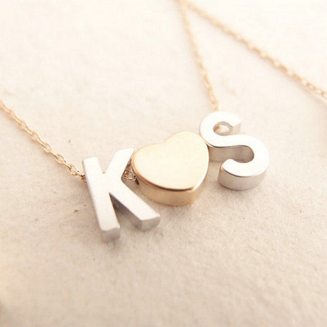 Initial necklace fine gold chain monogram necklace couple ketting initial necklace fine gold chain monogram necklace couple ketting met initialen necklaces love pendant monogrammed ltetter mozeypictures Images