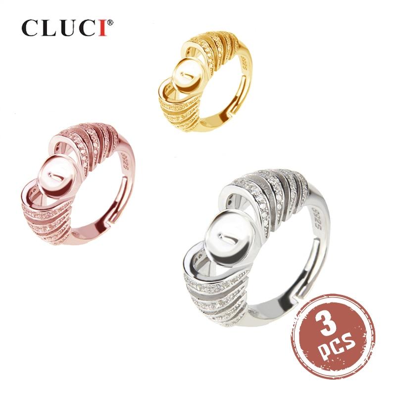 CLUCI 3pcs Zilver 925 Zirkoon Ring Instellingen voor Vrouwen 925 Sterling Zilver Verstelbare Ring voor Parel Sieraden Maken-in Ringen van Sieraden & accessoires op  Groep 1