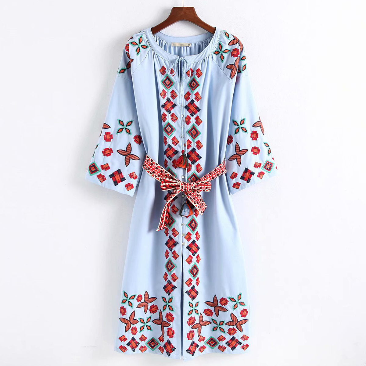 Jastie 2019 automne brodé robe mi-longue manches o-cou femmes robes décontracté Vintage Ukraine robe coton femme robes - 5