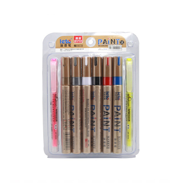 12 Colors Leto Permanent Marker Set Waterproof Oil Paint Markers For Car Tire Cd Gl Porcelain Rubber Wood Metal Plastic