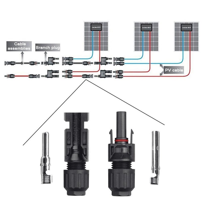 IP67 5 pairs Solar Connector Male /& Female PV Solar Panel Waterproof Wire Cable
