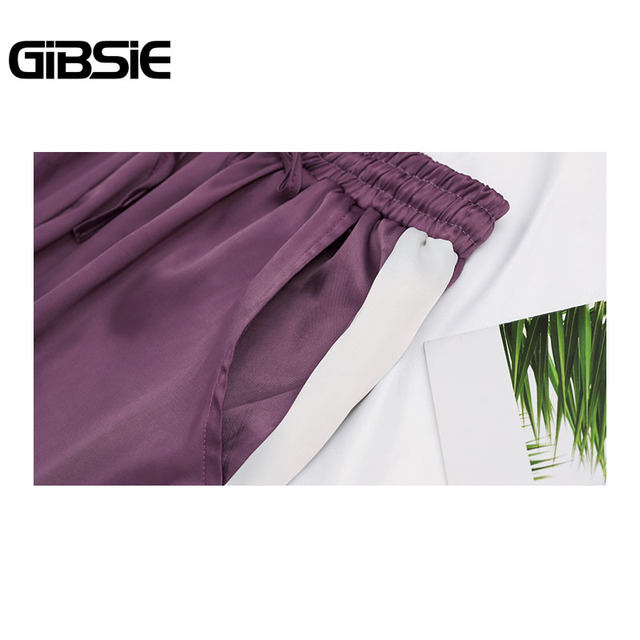 GIBSIE Plus Size Women Clothing 5XL 4XL 3XL Summer Color Block Satin Trousers Women Sweatpants Casual High Waist Harem Pants 5
