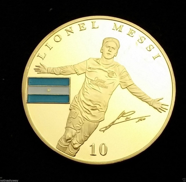 4 Teilelos Lionel Messi Barcelona Vergoldet Münze Wm 2014 Brasilien