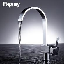 Fapully смеситель для кухни 360 одной ручкой кран раковины Chrome горячей и холодной кухонный водопроводной воды