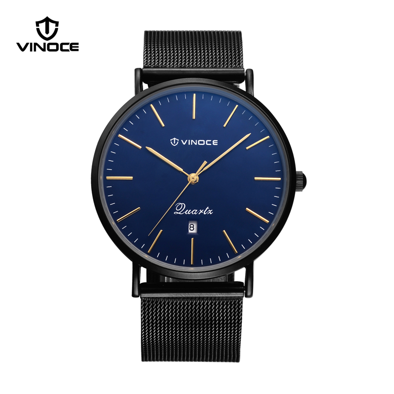 VINOCE Watches Luxury Stainless Steel Mesh Band Men Watches 7mm Ultra Thin Quartz Watches Waterproof Relogio Masculino #V3293G