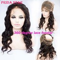 "360 Lace Frontal Pre Plucked Brazilian Virgin Hair 360 degree Lace Frontal Closures Body Wave With Adjustable Strap 22""x4""x2"""