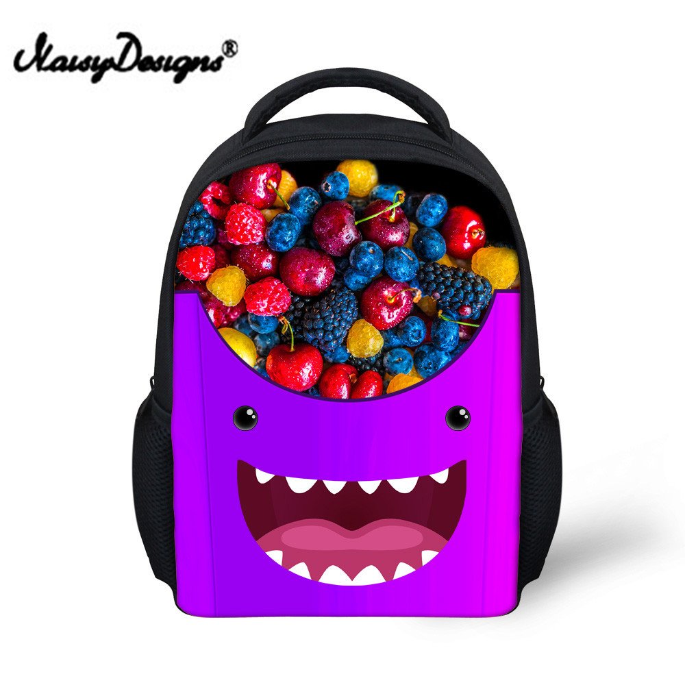 Noisydesigns Emoji Smile Fruit Print Small Backpack Baby Girls Kindergarten School Backpack for Kids Bagpack Mochila Infantil
