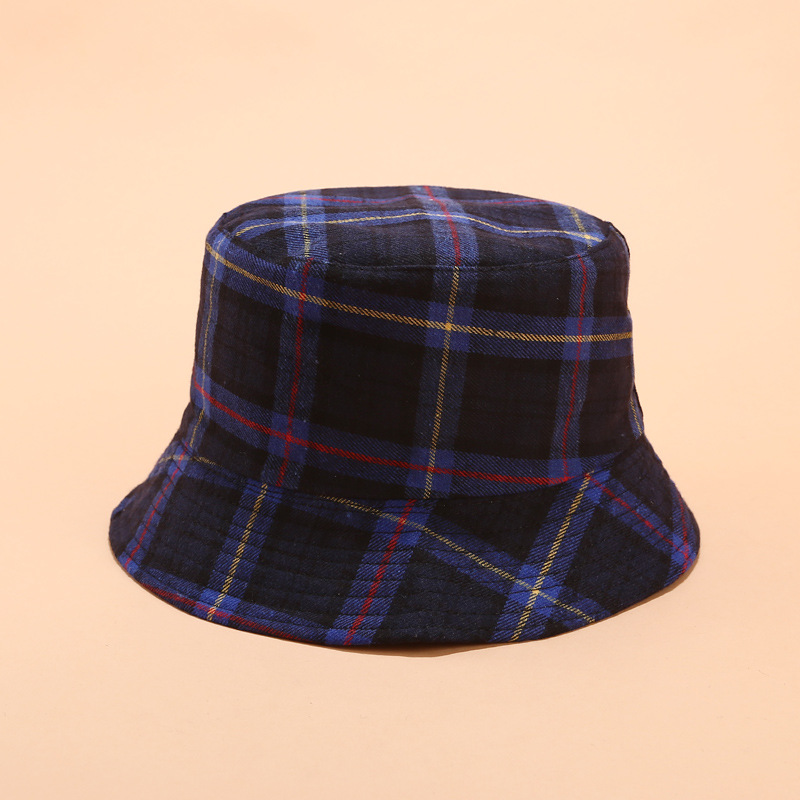 Cotton Double Sided Plaid Bucket Hat Fisherman Hat Outdoor Travel Hat Sun Cap Hats For Women 04
