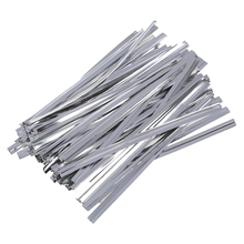 ALIM HOT 100 Pcs Silver Metallic Twist Ties for Cello Candy Bags Party 8cm
