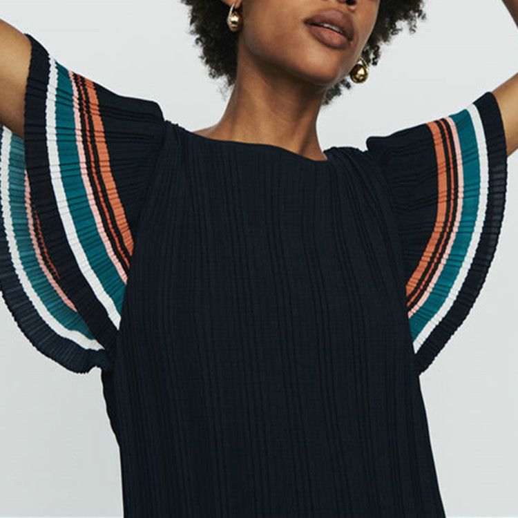 Women Dress 2019 Spring and Summer Colorblock Stripe Patchwork Pleated Short Sleeve Dress