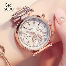 Style three Eyes GUOU Rose Gold Metal Quartz Ladies Women Wristwatches Wrist Watch Bracelet /w Calendar Japan Movt